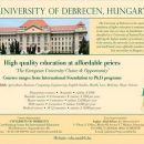 University of Debrecen Hungary Admission 2020
