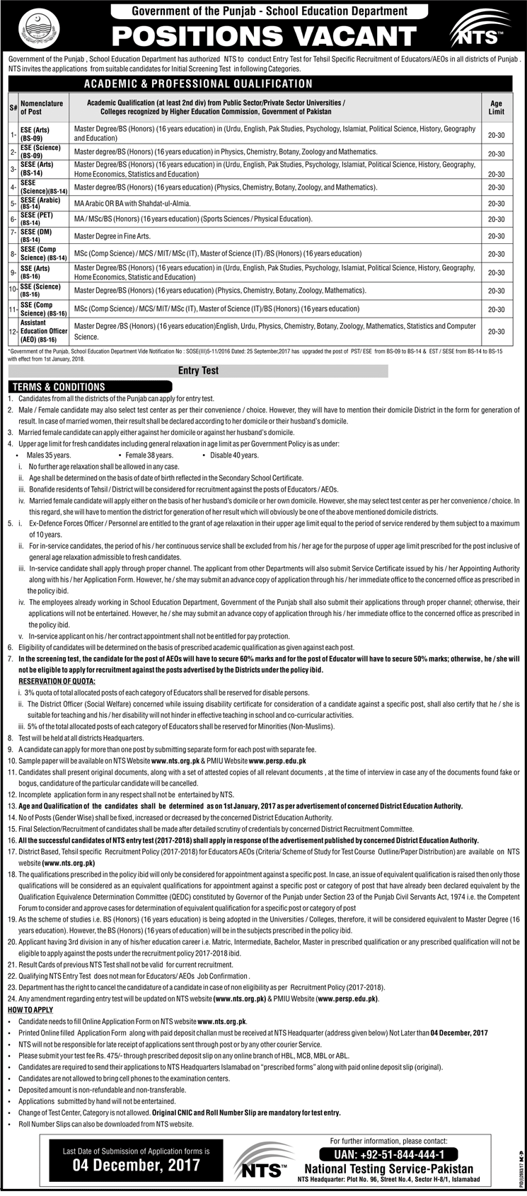 Punjab School Education Department Educators Jobs 2017, NTS Form & Result