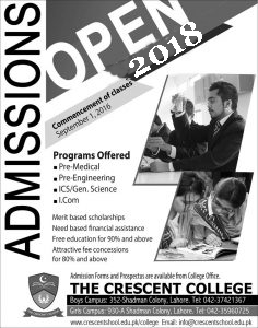 Crescent College Lahore Inter Admission 2018, Form & Merit Lists