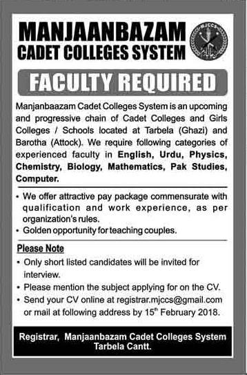 Jobs in Manjanbazam Cadet College Ghazi Barotha MJCC 2018