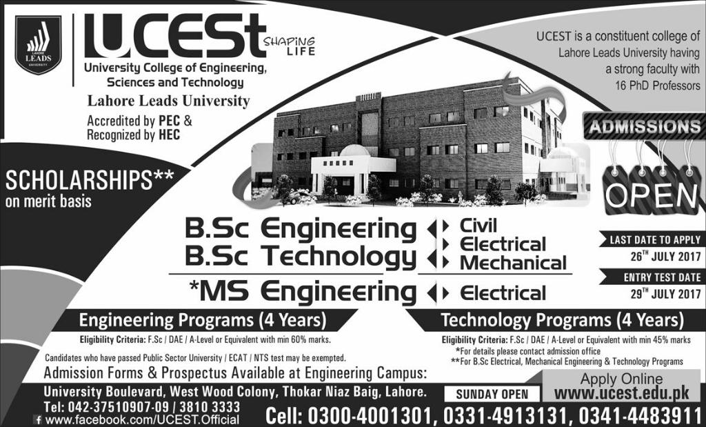 UCEST, Lahore Leads University, Admission 2016