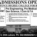 Defence Degree College For Boys LHR Admission 2017