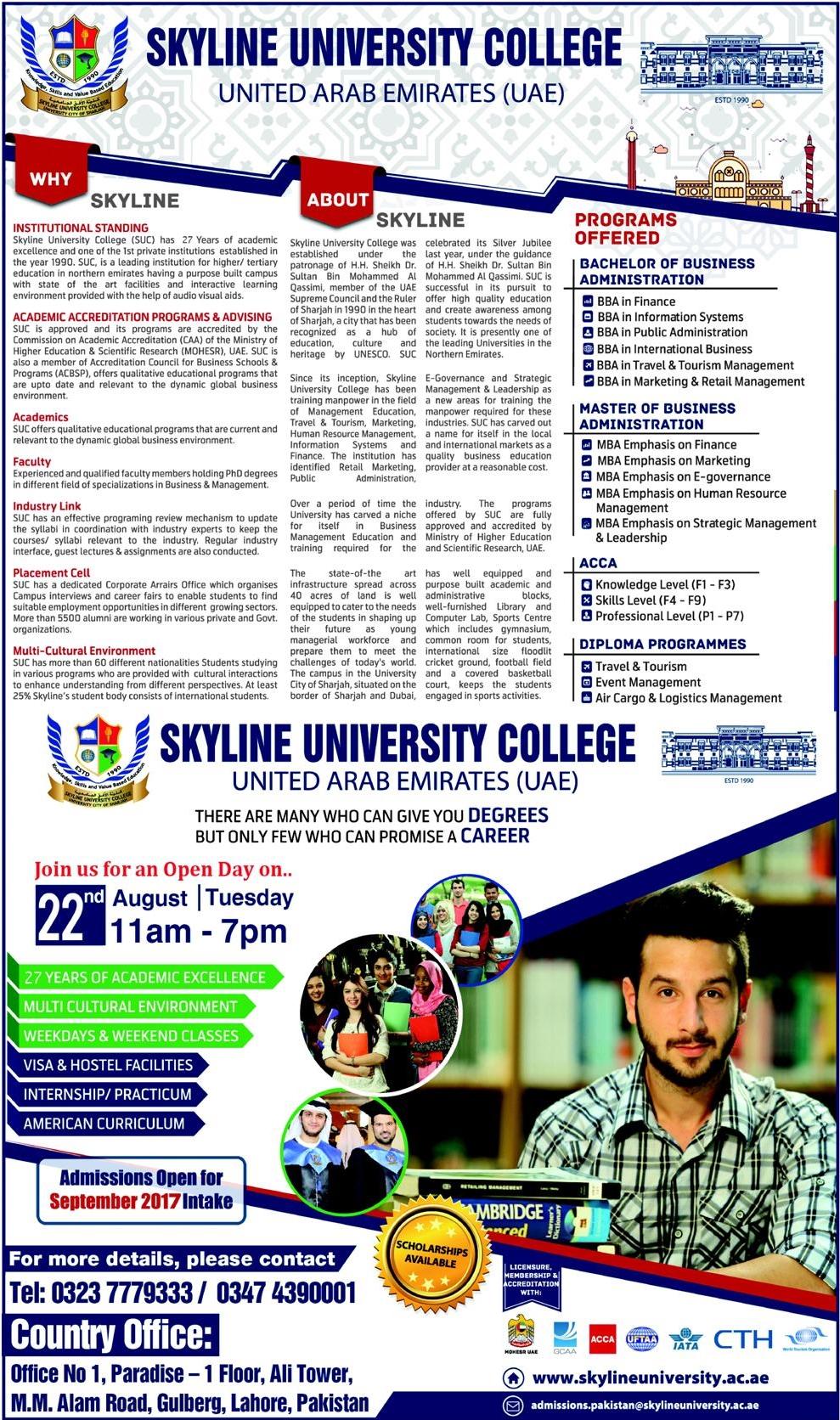 Skyline University College UAE Admission 2017