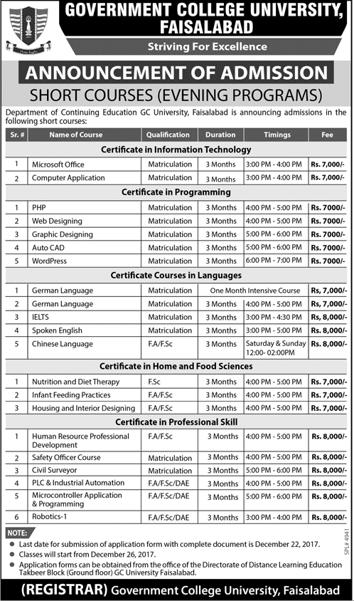 GC University Faisalabad Admission 2017 in Short Courses