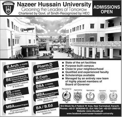 Nazeer Hussain University Admission 2018
