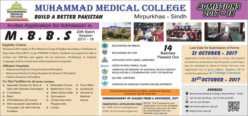 Muhammad Medical College Mirpurkhas MBBS Admission 2017