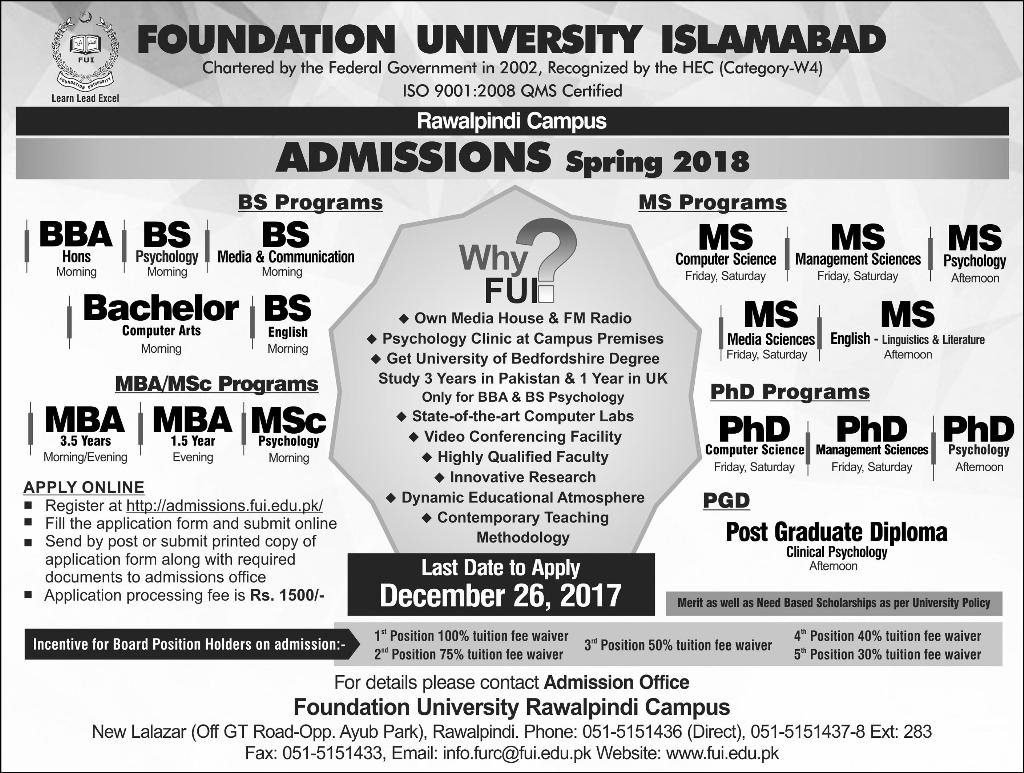 Foundation University Islamabad FUI Admission 2018