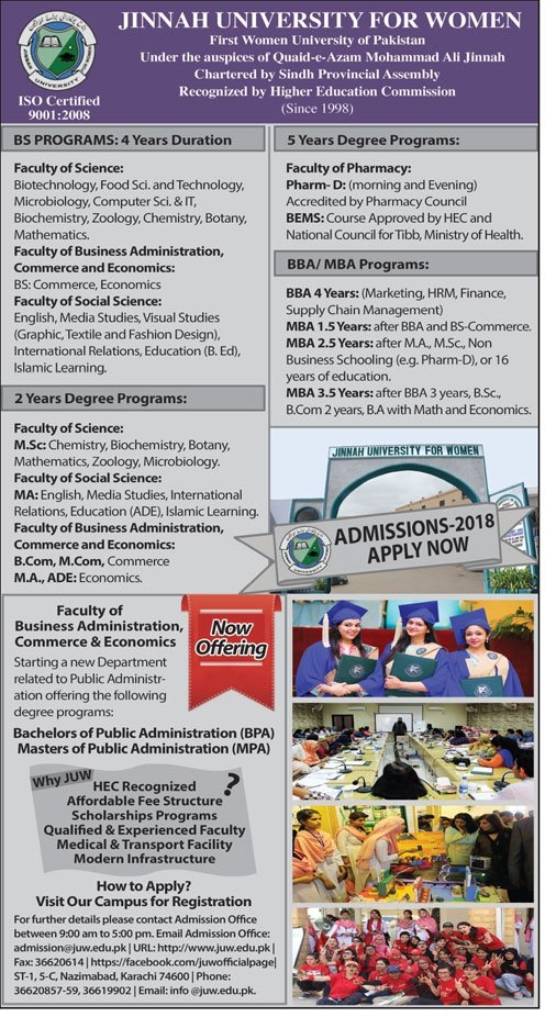 Jinnah University For Women Karachi Admission 2018
