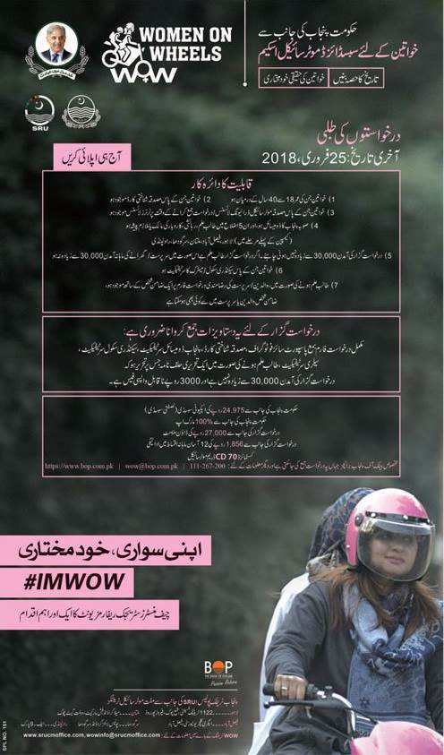Women-on-Wheels Motorbike Subsidy Scheme Punjab 2018, BOP Form Download