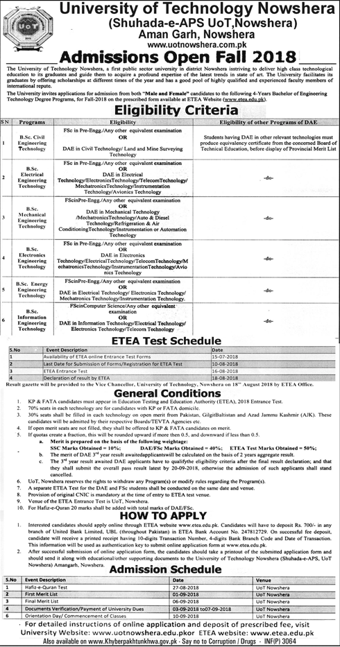 University of Technology Nowshera BSc Engineering Admission 2018