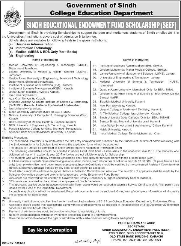 Sindh Educational Endowment Fund SEEF Scholarship Program 2018