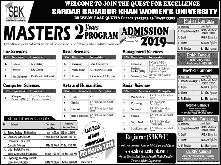 Sardar Bahadur Khan Women University SBKWU Quetta Admission 2019