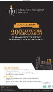 Information Technology University (ITU Lahore) Admission 2017, Scholarships