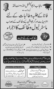 PEEF Scholarship 2017 For Master Students of FATA, Form & Result