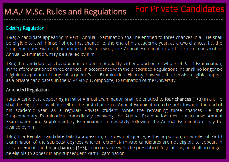 University of Punjab Rules For Private MA