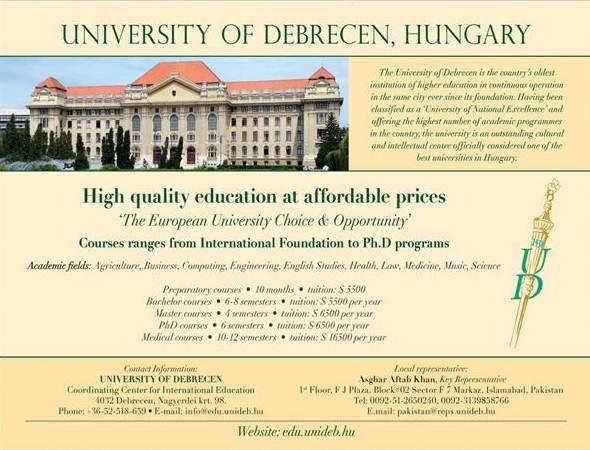 University of Debrecen Hungary Admission 2020