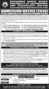 M. Nawaz Sharif University Of Engineering And Technology Multan Admissions 2016