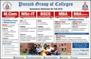 Punjab Group Of Colleges BBA, BSCS, MBA, MCOM, MSC-IT Admissions 2016