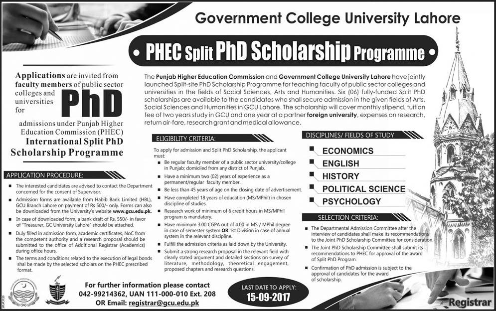 GCU Lahore PHEC Split PhD Scholarship Program 2017