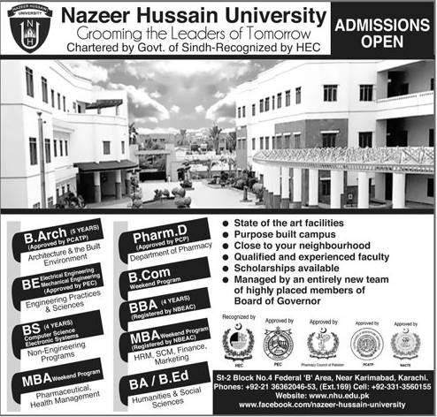 Nazeer Hussain University Admission 2019