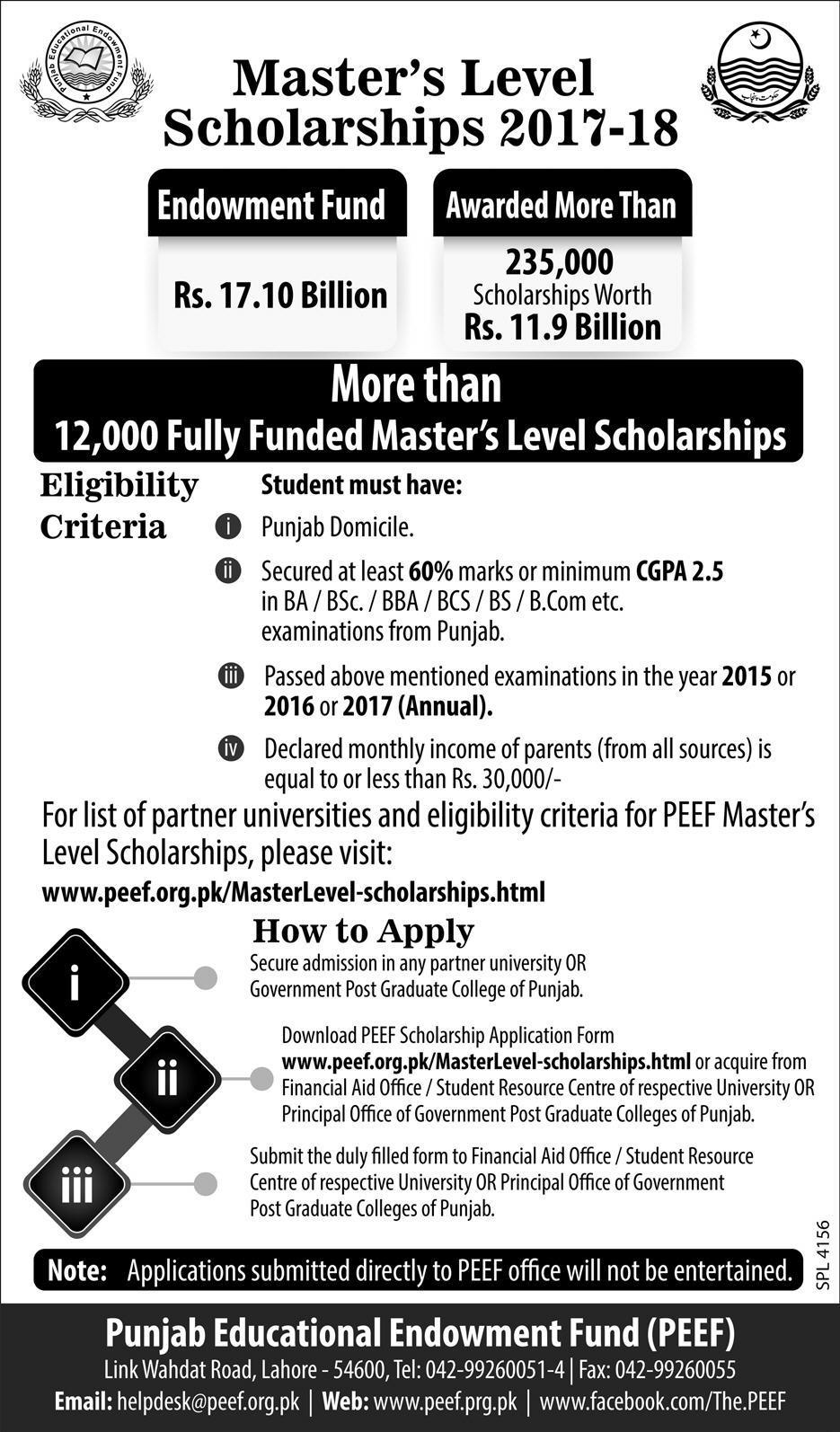 Master Level PEEF Scholarships 2017, Eligibility, Form