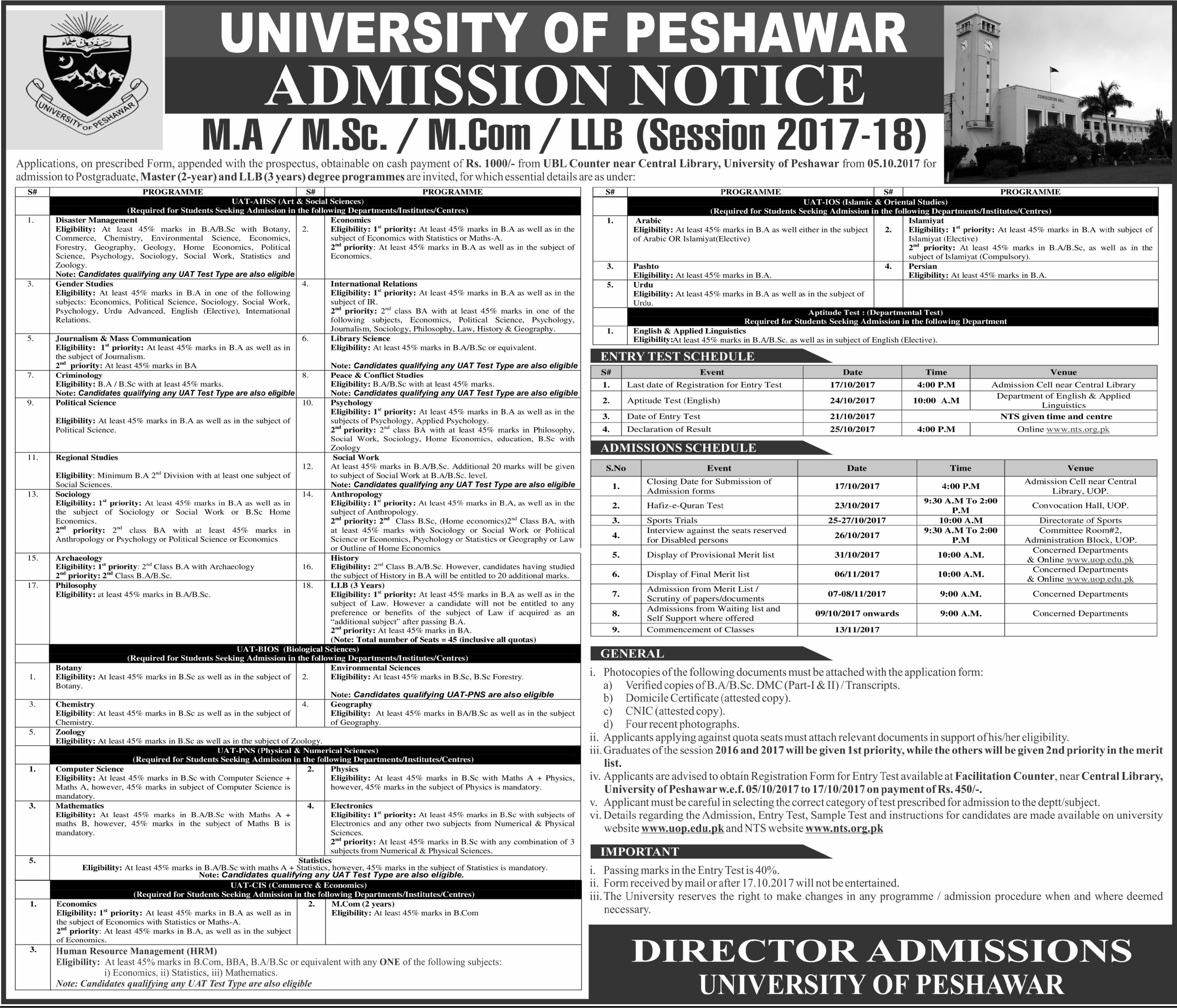 University of Peshawar Admission 2017, Form, Schedule