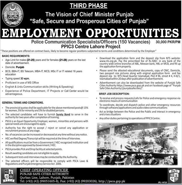 Punjab Police Jobs 2017 Communication Officers Safe City Project