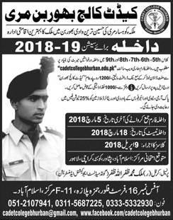 Cadet College Bhurban Murree Admission 2018, Entry Test Result