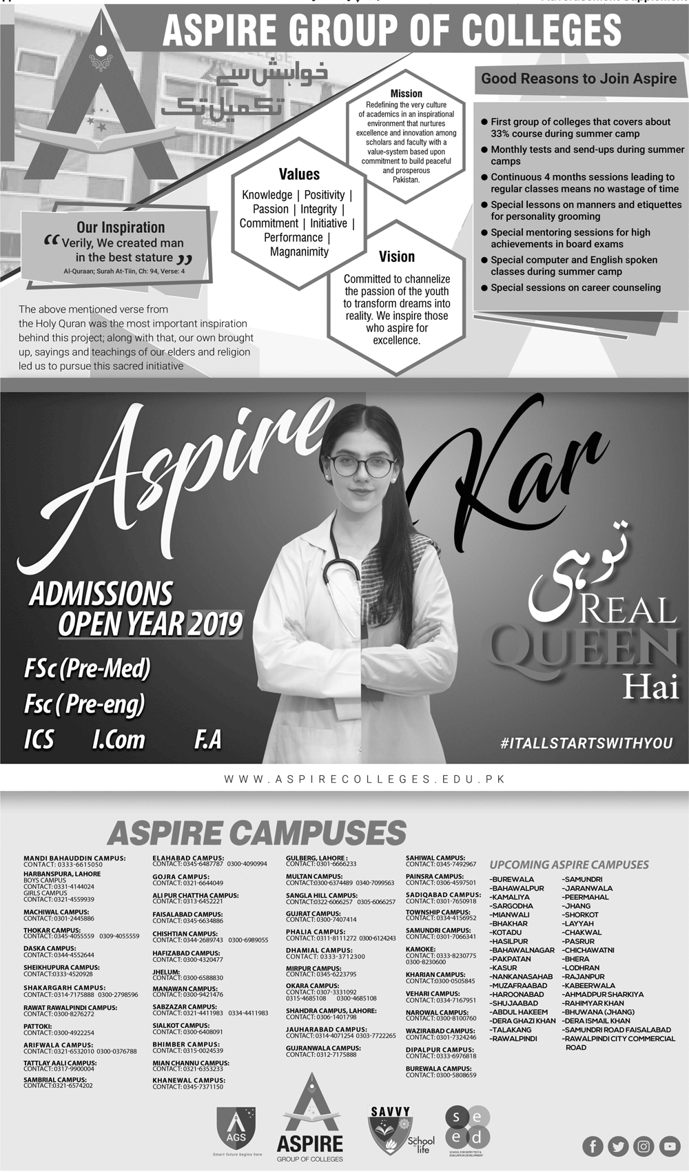 Aspire Group of Colleges 1st Year Admission 2019, Scholarships