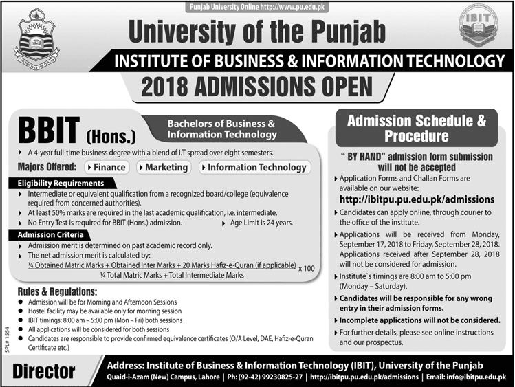 PU Lahore BBIT Admission 2018