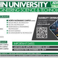 Ziauddin University Biomedical Engineering Admission 2019