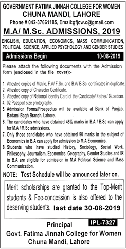 Govt Fatima Jinnah College Chuna Mandi LHR MA, MSc Admission 2019