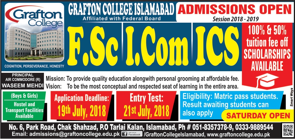 Grafton College Islamabad 1st Year Admission 2018, Scholarships