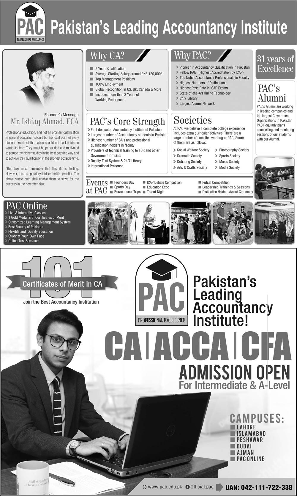 Professional Academy of Commerce PAC CA, ACCA, CFA Admission 2020