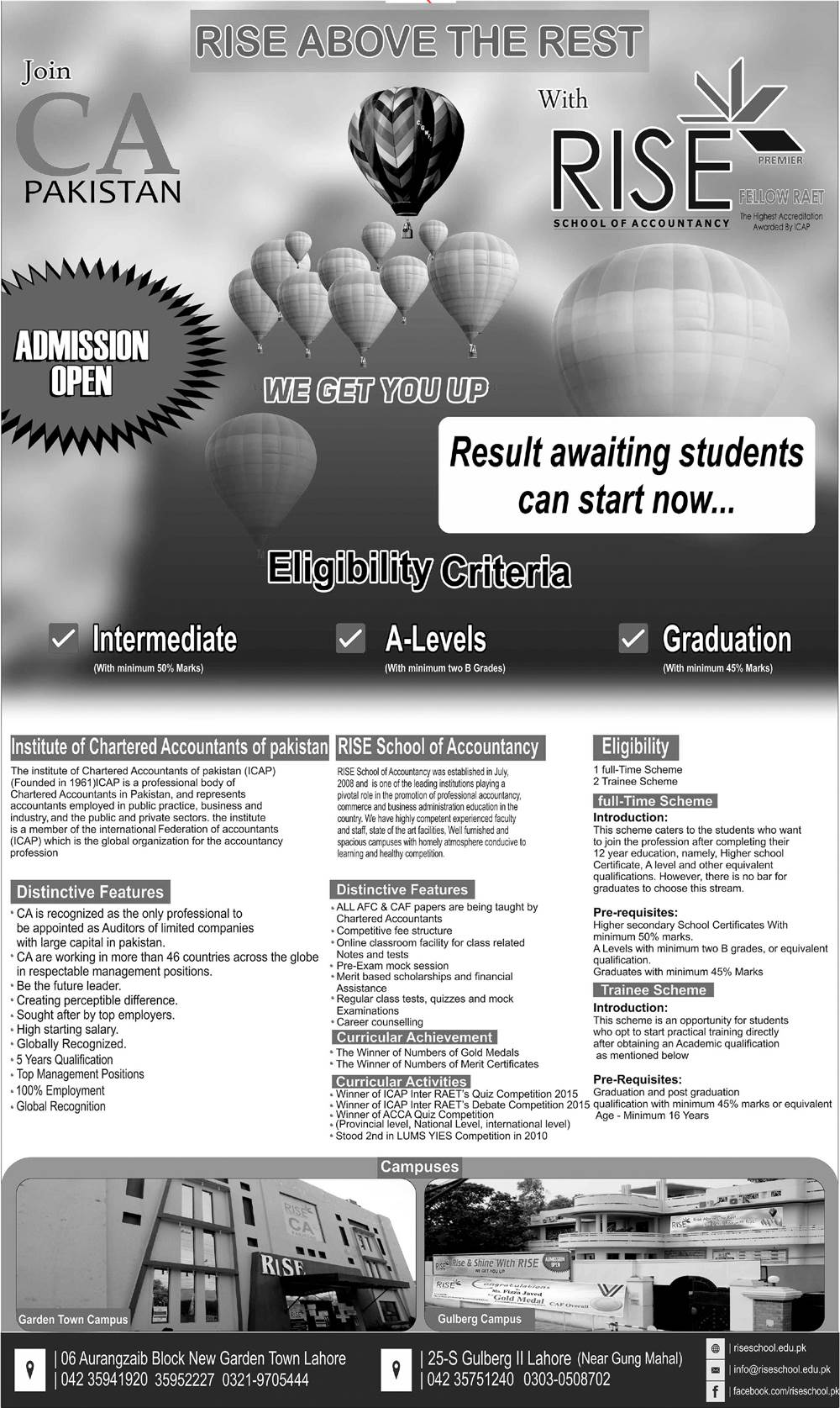 Rise School of Accountancy Lahore Admission 2019