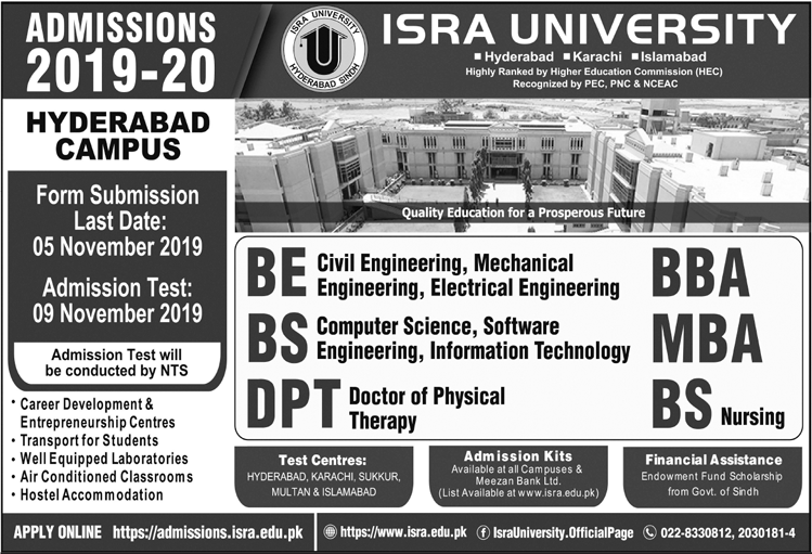 Isra University Admission 2019 in BE, DPT, BS, MBA & BBA