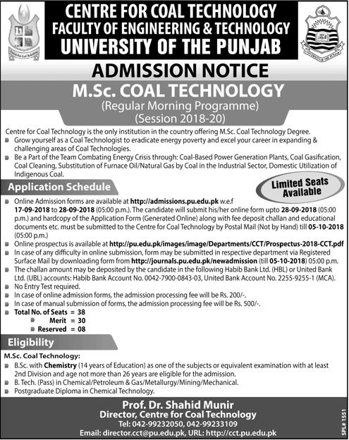 Punjab University Lahore MSc Coal Technology Admission 2018