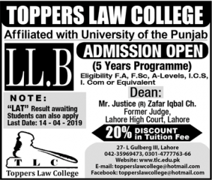 Toppers Law College Lahore LLB Admission 2019, Scholarships