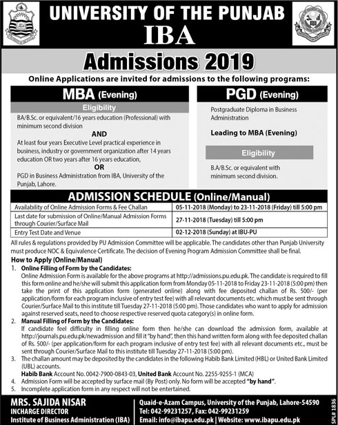 IBA Punjab University MBA & PGD Evening Admission 2019