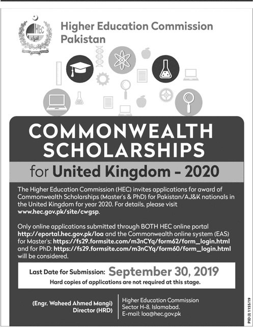 HEC Commonwealth Scholarship in UK 2020 (Masters & PhD)