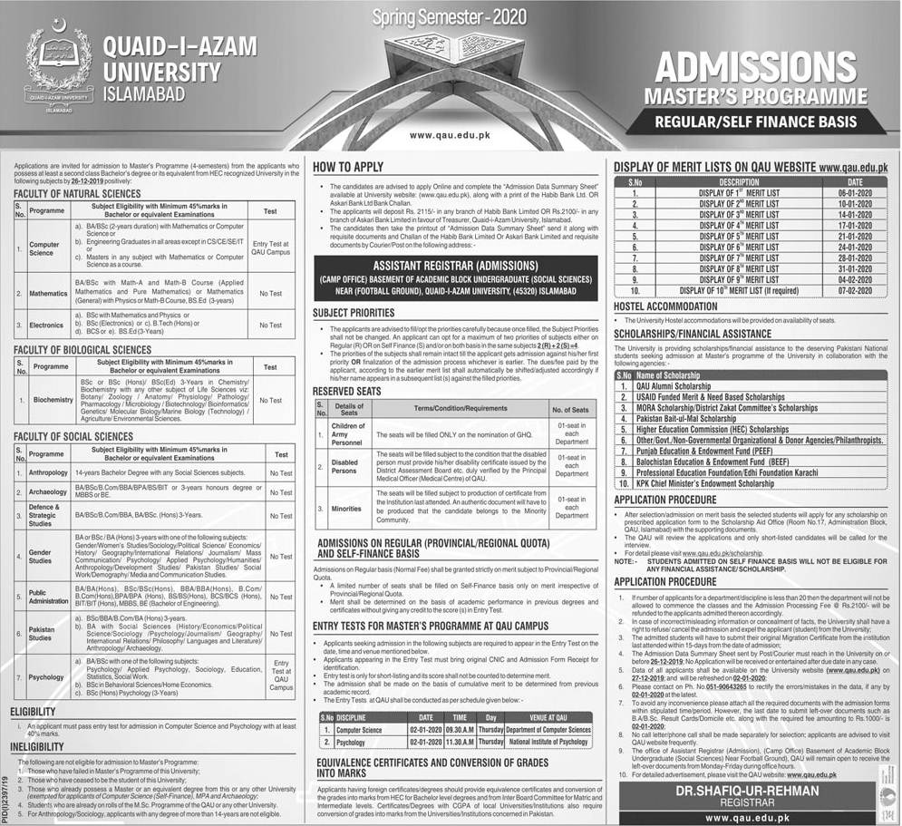 Quaid i Azam University Admission 2020 in Master Programs
