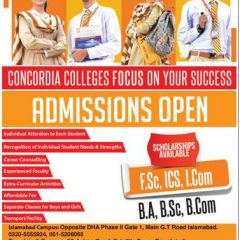 Concordia College Admission 2021 in 1st Year Classes