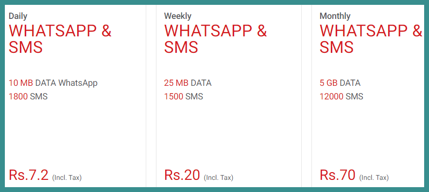 Warid SMS Packages 2020 (Prepaid)