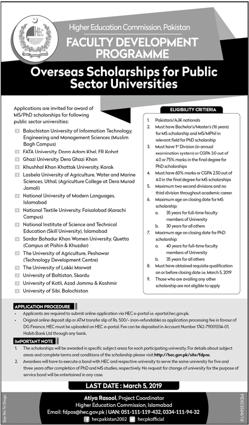 Overseas HEC Scholarships 2019 For Govt Universities (Faculty Development Program)