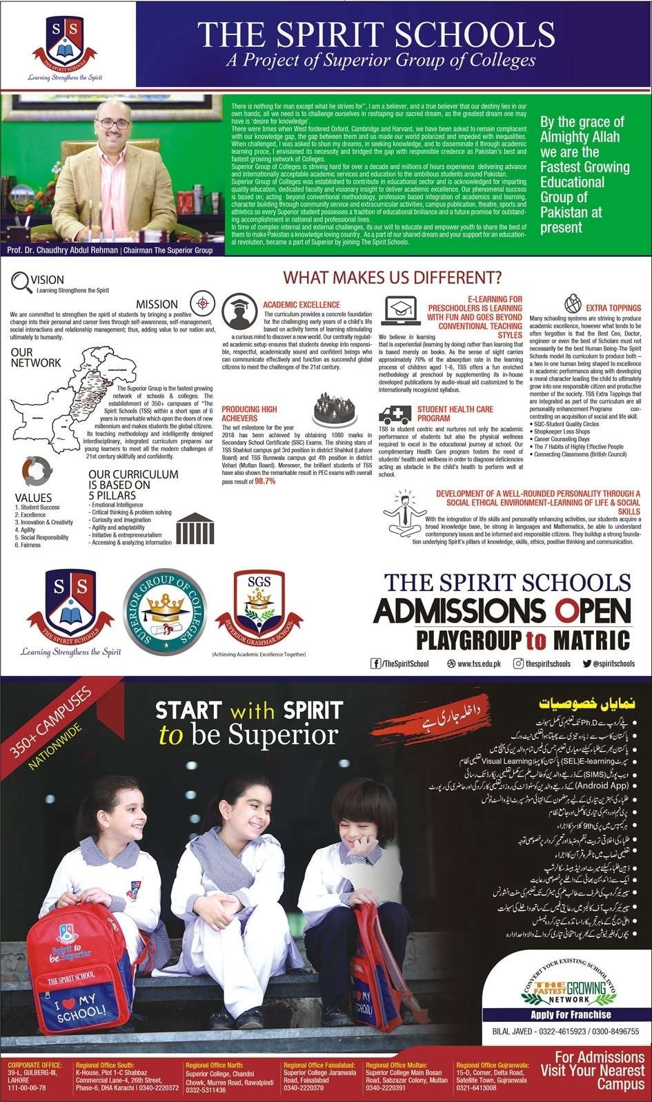 The Spirit School Admission 2020 in PG to Matric, Fee Structure & Form Download