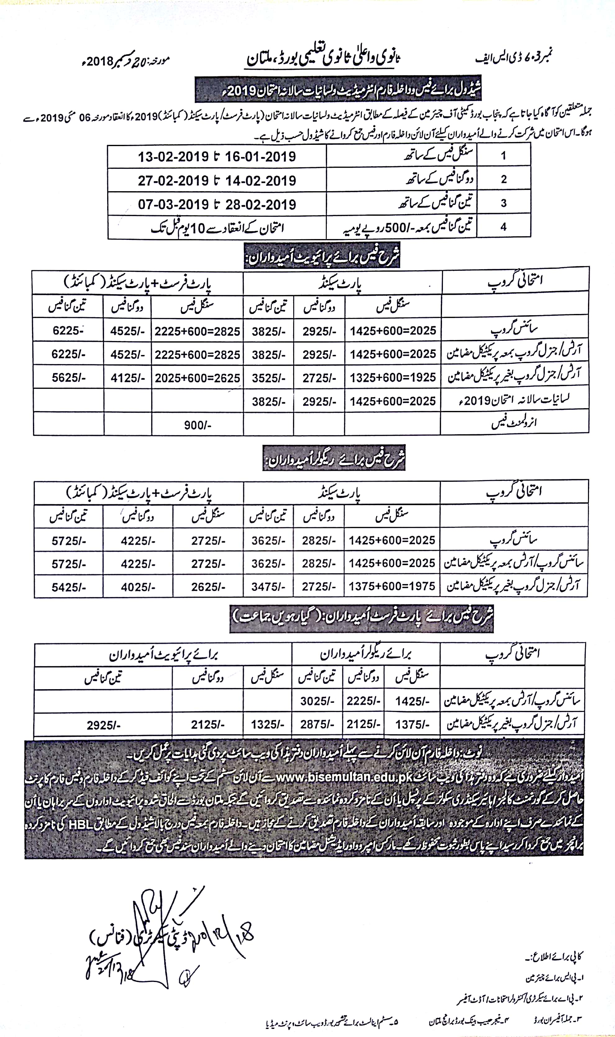 BISE Multan Board Intermediate Admission Form 2019, Fee, Last Date