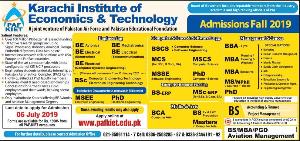 PAF KIET Karachi Admission 2019-Schedule, Programs & Eligibility