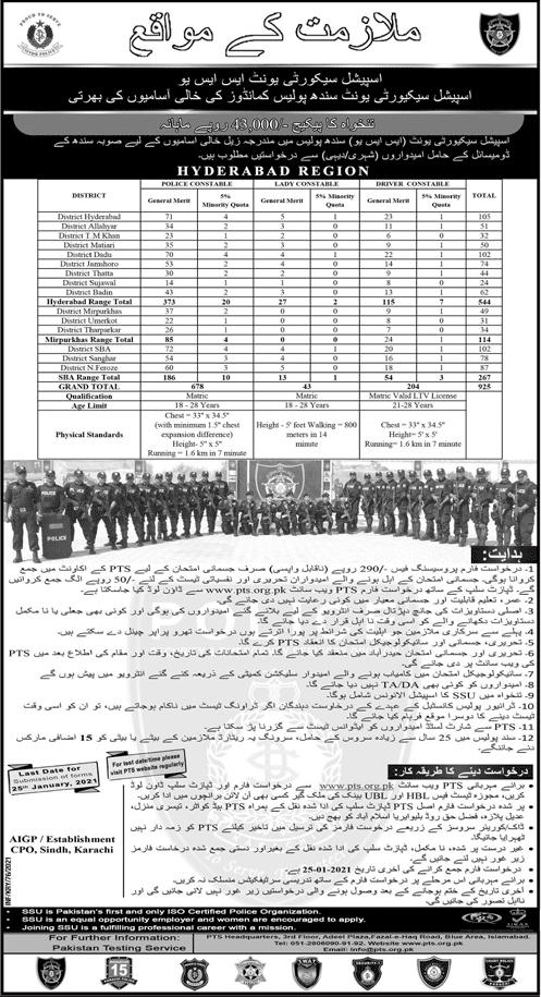 SSU Sindh Police Jobs 2021 PTS Form, Male & Female Commando & Driver Constable