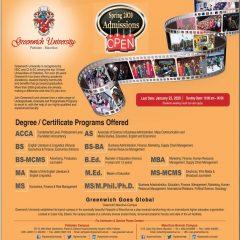 Greenwich University Karachi Pakistan & Mauritius Admission 2020, Last Date