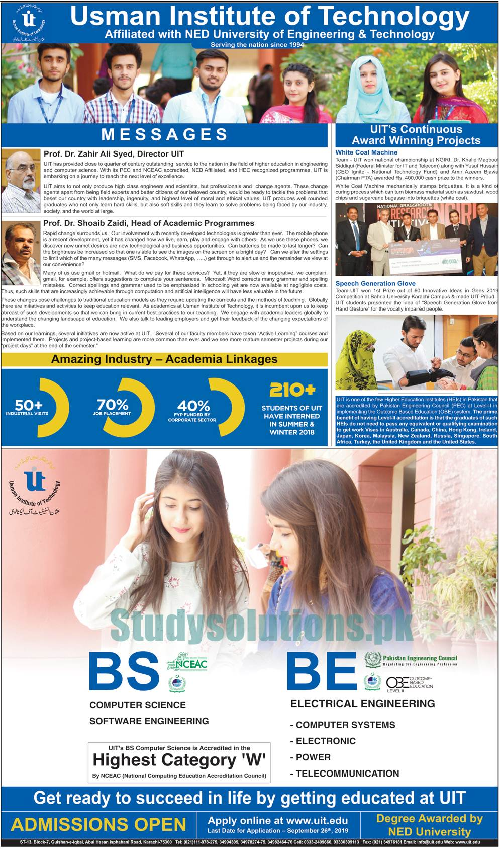 Usman Institute Of Technology Karachi BS & BE Admission 2019